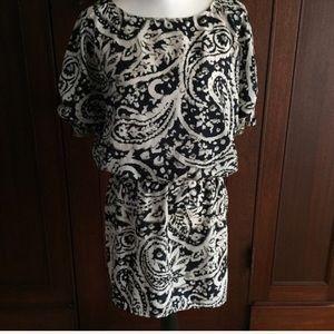 Ann Taylor LOFT dress Navy/Ivory/gray paisley S